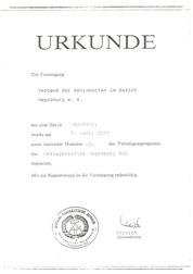 Gründungsurkunde Verband der Behinderten im Bezirk Magdeburg